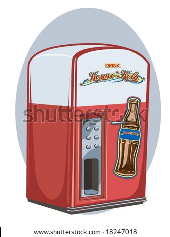 vector illustration of a vintage vending machine - stock vector