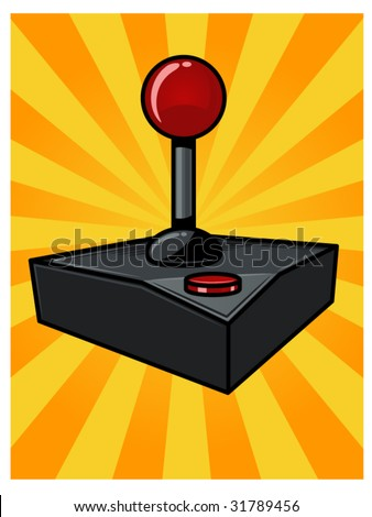 vector illustration of a vintage video game controller...background contained in clipping mask - stock vector