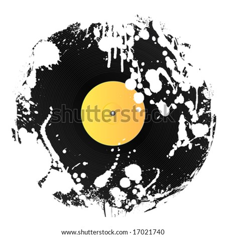 Vector illustration of a vinyl disc covered in white ink splatters. Grunge style. - stock vector