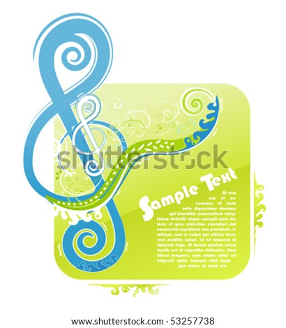 Vector illustration of a violin key modern trendy floral design with funky swirls and curls and peaceful natural colors. With sample text for custom placement. - stock vector