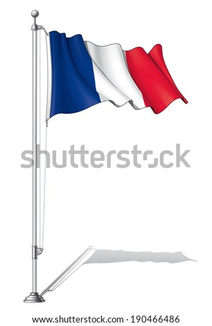 Vector Illustration of a waving French flag fasten on a flag pole. Flag and pole in separate layers, line art, shading and color neatly in groups for easy editing.  - stock vector