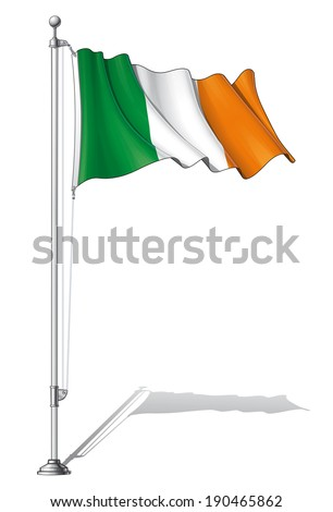 Vector Illustration of a waving Irish flag fasten on a flag pole. Flag and pole in separate layers, line art, shading and color neatly in groups for easy editing.  - stock vector