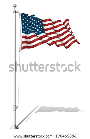 Vector Illustration of a waving US flag fasten on a flag pole. Flag and pole in separate layers, line art, shading and color neatly in groups for easy editing.  - stock vector