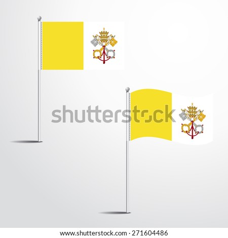 Vector Illustration of a waving Vatican City Flag fasten on a flag pole. flag blowing in a breeze. Vector illustration template design - stock vector