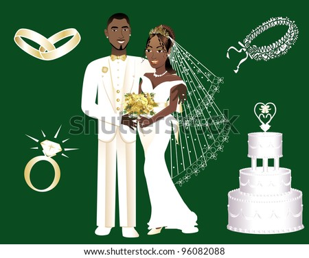Vector Illustration of a wedding couple and icons. - stock vector