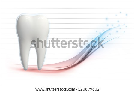 Vector illustration of a white 3d tooth on a health level graph template with copyspace - stock vector
