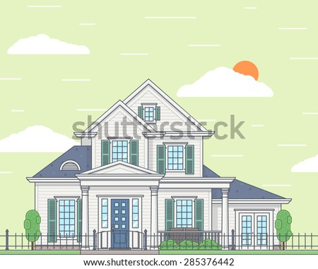Vector illustration of a white family cozy two story house. View from the outside. Realty concept. Building and architecture, cottage - stock vector