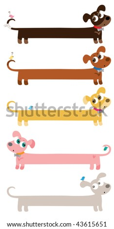 Vector illustration  of a wiener Dachshund dog shaped banner. Each is on a different layer. - stock vector