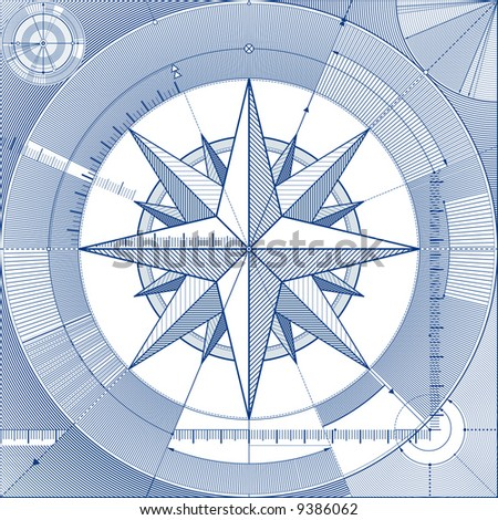vector illustration of a wind-rose in a draft style - stock vector