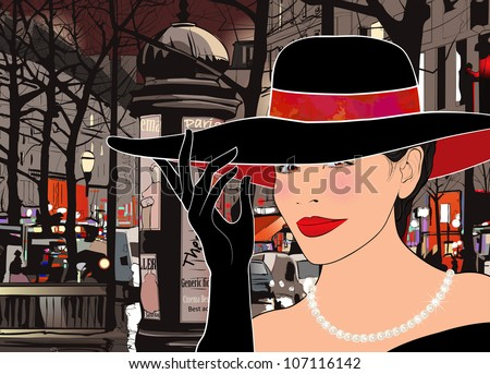 Vector illustration of a woman strolling  boulevard in Paris at night