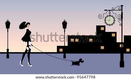 Vector illustration of a woman walking with a dog