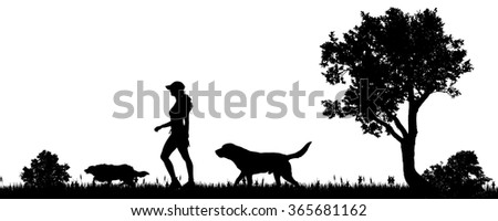 Vector illustration of a woman with a dog in the countryside.