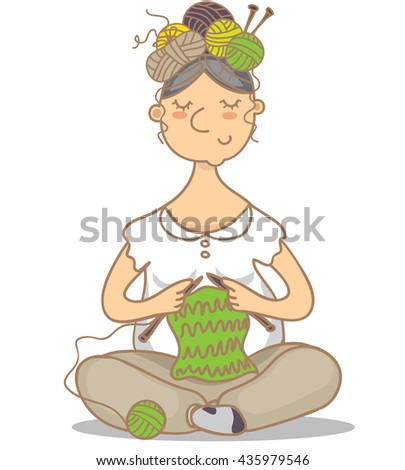 Vector illustration of a woman with knitting on the head - stock vector