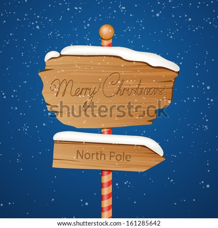 Vector Illustration of a Wooden Christmas Sign - stock vector