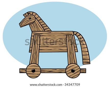 vector illustration of a wooden Trojan horse - stock vector