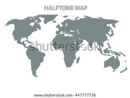 Vector illustration of a world map. Halftone world map infographics element design. - stock vector