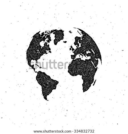 vector illustration of a world map. letterpress vintage globe label design.  - stock vector