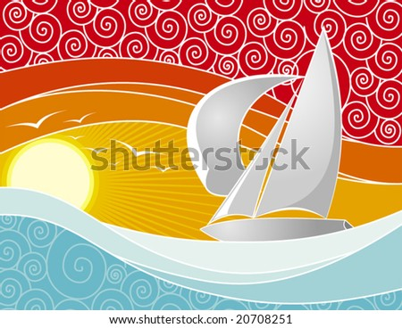 Vector illustration of a yacht sailing at sunset - stock vector