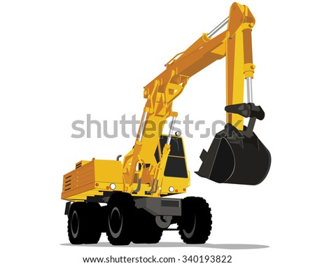 Vector illustration of a yellow excavator with wheels