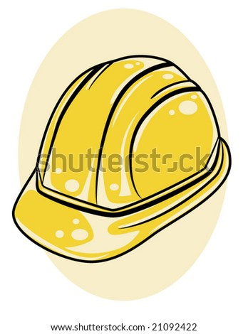 vector illustration of a yellow hard hat - stock vector