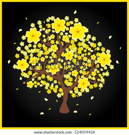 "Vector illustration of a yellow peach tree popular in Vietnam, which is called ""Hoa Mai"" in Vietnamese language; black background"