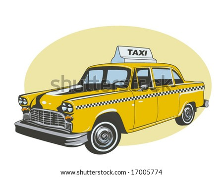 vector illustration of a yellow taxi - stock vector