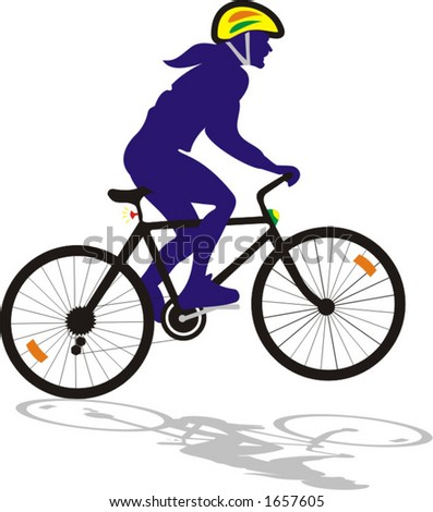 vector illustration of a young adult male biker riding a bicycle - stock vector