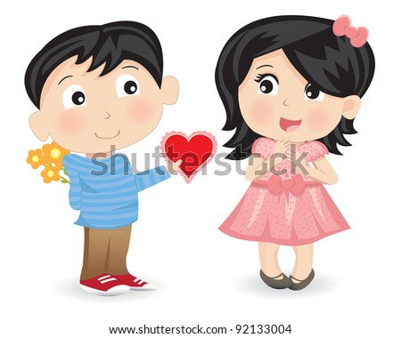 Vector illustration of a young boy giving a valentine to a young girl on a white background. - stock vector