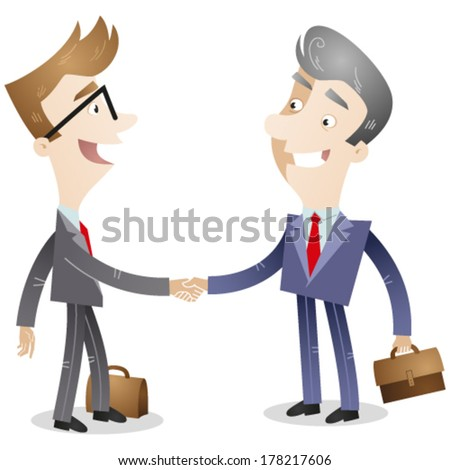 Vector illustration of a young cartoon businessman shaking hands with an old cartoon businessman. - stock vector