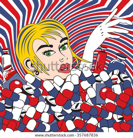 Vector illustration of a young female drowning in pills and medicals. Pop art style. - stock vector