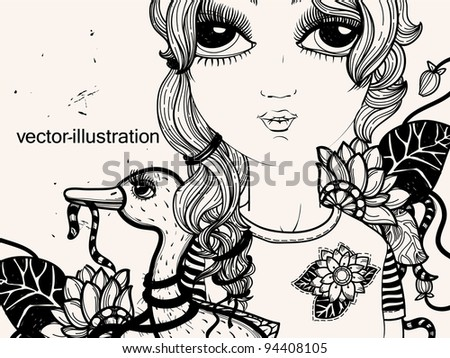 vector illustration of a young girl with a  little duck - stock vector