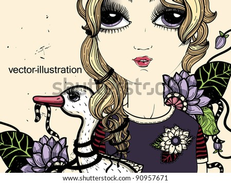 vector illustration of a young girl with a white duck and fantasy flowers - stock vector