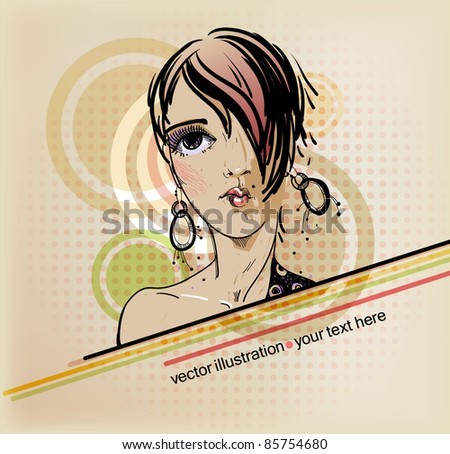 vector illustration of a young girl with fashion haircut.eps10 - stock vector