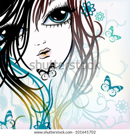 vector illustration of a young girl with flying butterflies on a floral background - stock vector