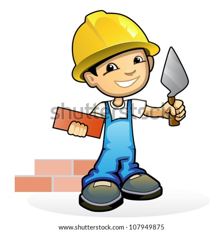 Vector illustration young mason trowel for Arquitecto constructor