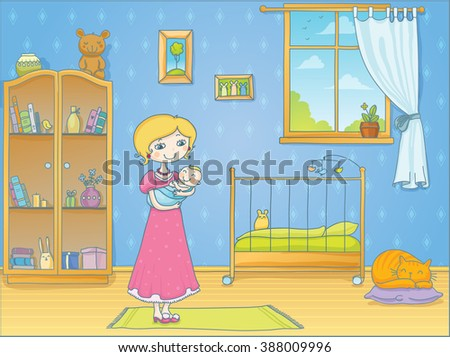 Vector illustration of a young mother with her cute baby in a light cozy nursery - stock vector