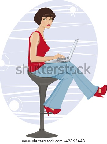 vector Illustration of a young woman sitting by the computer - stock vector