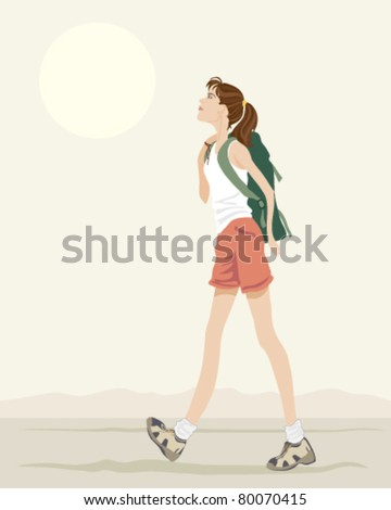 vector illustration of a young woman with a backpack walking in eps 10 format - stock vector
