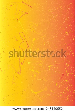 Vector illustration of abstract artistic graphic paint splat. Connect lines, universe, yellow & orange, pattern. - stock vector