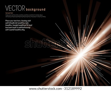 Vector illustration of abstract background with neon brown light rays. - stock vector