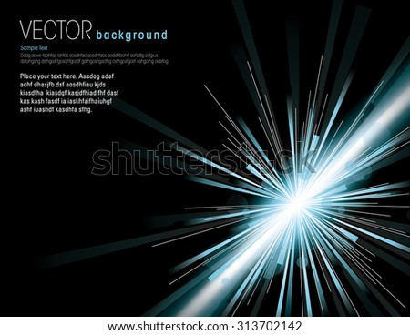 Vector illustration of abstract background with neon silver light rays. - stock vector