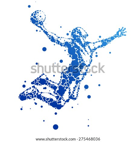 Vector illustration of abstract basketball player in jump - stock vector