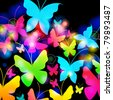 Vector illustration of abstract, beautiful, colorful floral romantic background with butterflies - stock photo