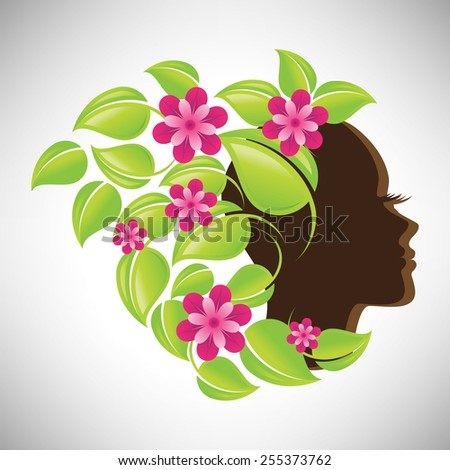 Vector illustration of abstract Beautiful woman silhouette in profile with colorful floral hair - stock vector