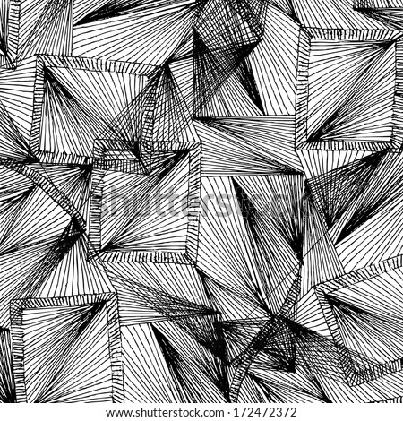 Vector illustration of abstract black & white, greyscale background / pattern. Grid, net, web. - stock vector