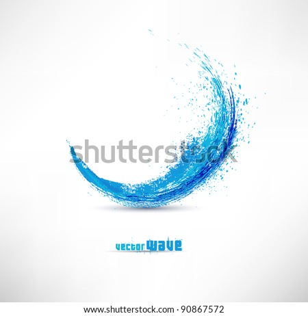 Vector illustration of abstract blue wave - stock vector