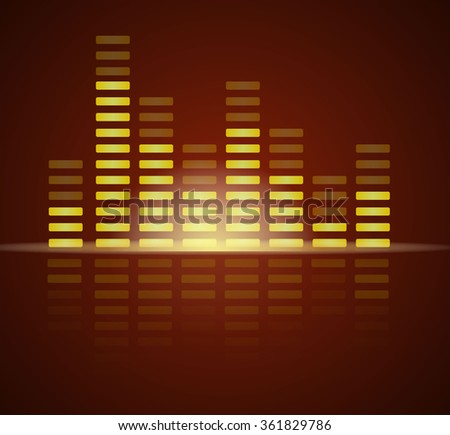 Vector illustration of abstract brown music waves. - stock vector