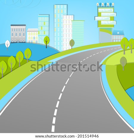 Vector illustration of abstract city landscape with wide road