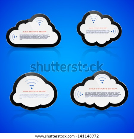 Vector illustration of abstract clouds on blue background. Cloud computing concept. - stock vector