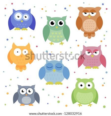 Vector Illustration of Abstract Colorful Owls - stock vector